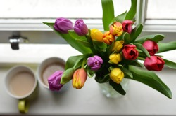 Tulips in the vase and two coffee cups on the windowsill. The light of early morning makes flowers shine with colours. Romantic composition for any holiday or just a perfect morning for two.