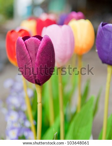 Tulips of the fabric. - stock photo