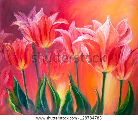 Tulips, oil painting on canvas #128784785