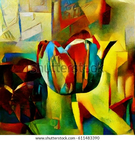 Tulips on the flowerbed. A bouquet of beautiful flowers in a modern style and cubism from Picasso. Executed in oil on canvas with elements of fine art pastel painting. For gift and interior.