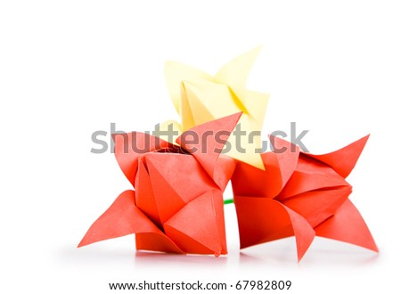 Tulips. Origamis. Traditional art of Japan. - stock photo