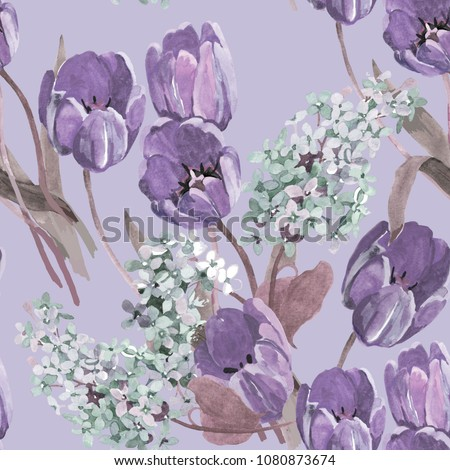 tulips violet and lilac flowers on light purple background seamless pattern for fabrics, paper