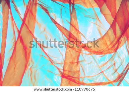 tulle fantasy background in light  blue and orange