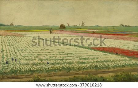 Tulpenvelden (Tulip Field), by Gerrit Willem Dijsselhof, c. 1890-1922, Dutch painting, oil on panel. View of flowering tulip fields with workers.