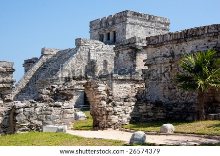 Tulum is one of the best-preserved coastal Maya sites and a popular site for tourists.  El Castillo (the castle), a temple with two columns portraying serpents.