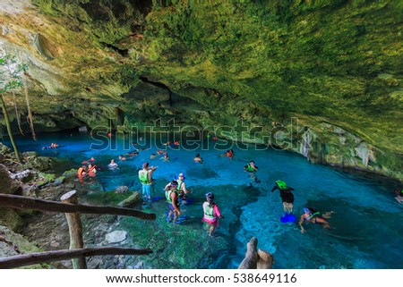 TULUM, MEXICO, JULY7th, 2016: Two Eyes Cenote, Yucatan, Mexico.    - Shutterstock ID 538649116
