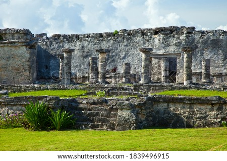 Tulum pre-Columbian Mayan archaeological site in Quintana Roo state of Yucatan penincual in Mexico, Central America Foto stock ©