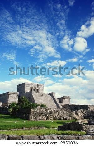 Tulum ruins in Mexico. El Castillo de Tulum, a Maya Pyramid.