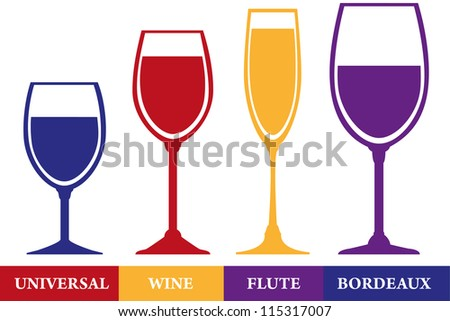 Tumblers set: wine, flute, bordeaux and universal.