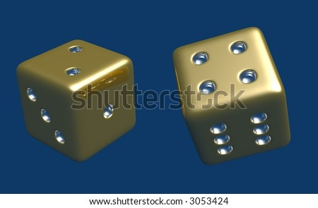 Tumbling Gold and Silver Dice