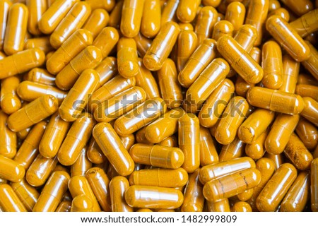 Tumeric herb capsule in, Thai herbal medicine for relieve stomach pain.