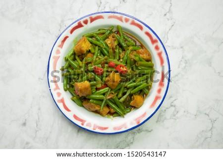 Tumis buncis,stir fry bean indonesian with tofu