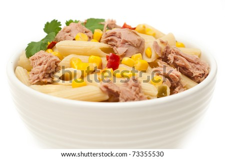 Tuna and pasta salad isolated on white background