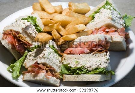 tuna club sandwich triple decker with bacon tomato lettuce tuna salad ...