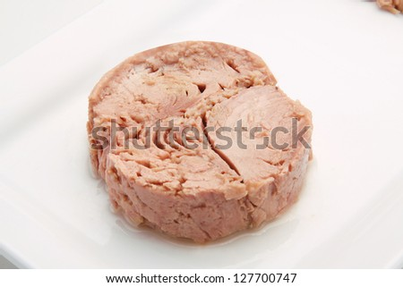 tuna fish in oil, canned food. - stock photo