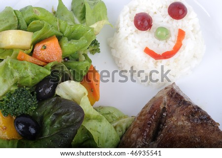 Tuna fish with salad with rice