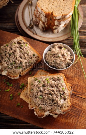 Tuna paste on healthy wholegrain bread sandwich
