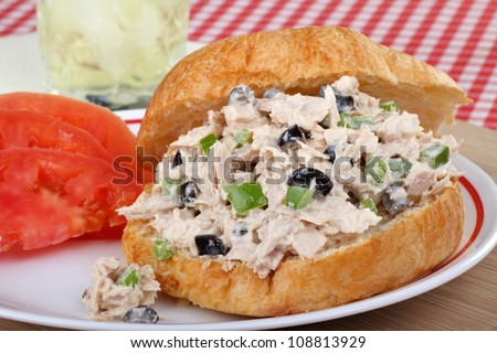 Tuna salad on a bun with sliced tomatoes