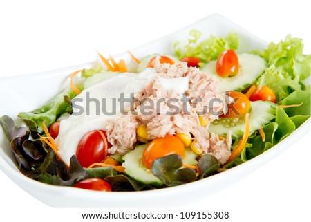 tuna salad on white bowl and white background