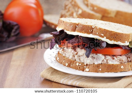 Tuna salad sandwich on whole grain bread with fresh vegetables in background. Extreme shallow depth of field with selective focus on sandwich.