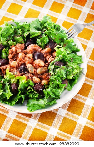 Tuna salad with beans and black olives (shallow dof)