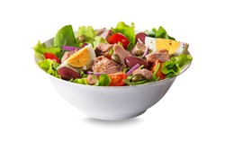 Tuna salad with lettuce, eggs and tomatoes isolated on white background 4/29 image series