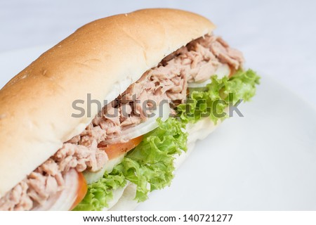 tuna sandwich baguette with and vegetables home made on white dish