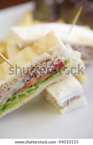 tuna sandwich on wood background