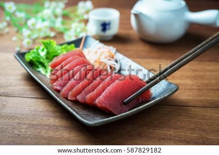 Tuna sashimi, raw fish in traditional Japanese style Foto d'archivio ©