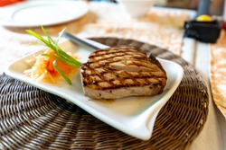 Tuna steak on the table, Philippines