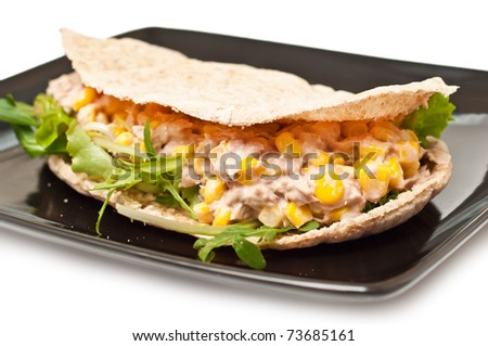 tuna with corn in a whole wheat pita