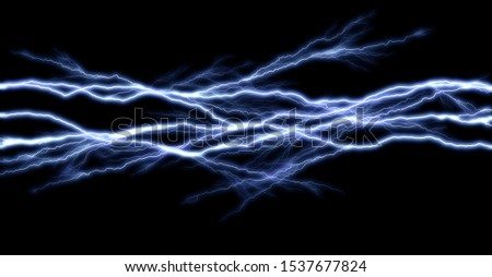 Tunder lightning bolts isolated on black background, illustration of electric concept Stock fotó ©