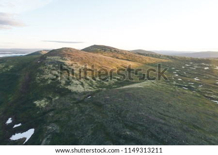 Tundra Mountain Aerial Landscape in the Mountains-Hills on the Kola Peninsula in the North of Russia near the Town of Kandalaksha. the place is called the Luvenga Tundra Mountains