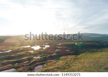 Tundra Mountain Aerial Landscape. Lakes in the Mountains on the Kola Peninsula in the North of Russia near the Town of Kandalaksha. the place is called the Luvenga Tundra Mountains