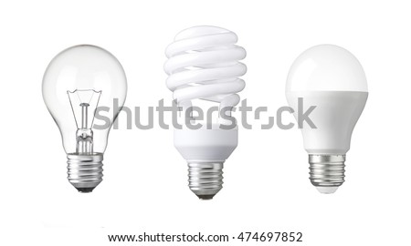 tungsten bulb, fluorescent bulb and LED bulb. revolution of three generation Light bulb. evolution of energy saver bulb