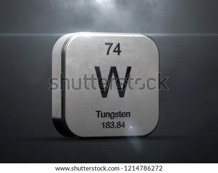 Tungsten element from the periodic table. Metallic icon 3D rendered with nice lens flare