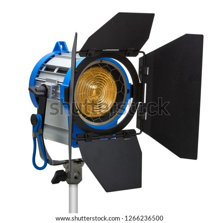 Tungsten Fresnel spotlight with barn doors isolated on white background including clipping paths #1266236500