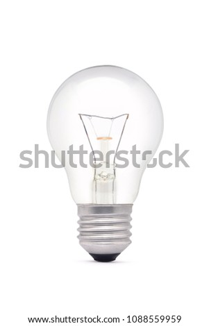 Tungsten incandescent filament light bulb, E27 Base, isolated on white background with clipping path