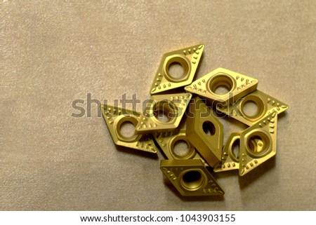 Tungsten insert tips for metal lathe blade.