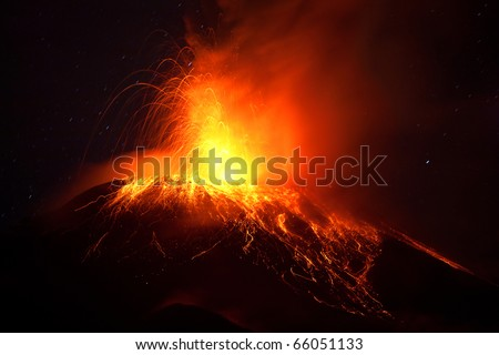 TUNGURAHUA, ECUADOR-NOV 28: TUNGURAHUA VOLCANO ERUPTS AT 2AM LOCAL TIME ON NOVEMBER 28, 2010 IN TUNGURAHUA, ECUADOR