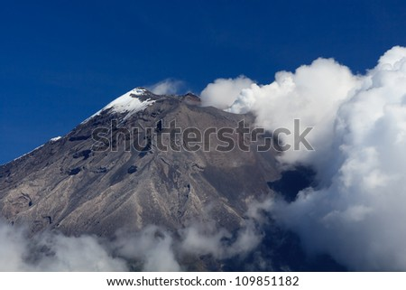 TUNGURAHUA VOLCANO ERUPTION AGAINST CLEAR BLUE SKY, IN ECUADOR, SOUTH AMERICA