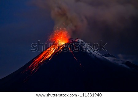 Tungurahua Volcano eruption and blue skies