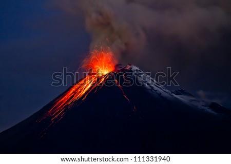 Tungurahua Volcano eruption and blue skies