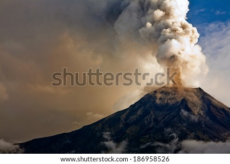 Stock Photo Tungurahua volcano eruption, Ecuador