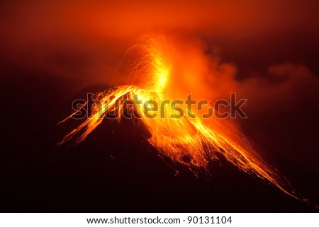 Tungurahua Volcano Exploding In The Night Of 30 11 2011 Ecuador Shot With Canon Eos 5D Mark Ii Converted From Raw Small Amount Of Noise Visible At Full Size  #90131104