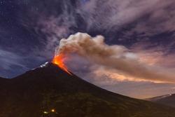 Tungurahua volcano explosion on November  2010 at night, Ecuador
