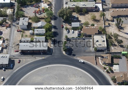 Tuning fork shaped road from above in Las Vegas