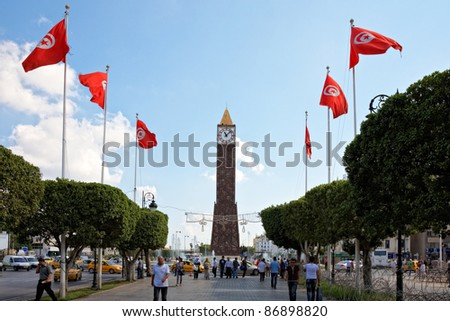 TUNIS, TUNISIA - OCTOBER 5: Barbed wire entanglement on Avenue Habib Bourguiba close to Monumental Clock on October 5 in Tunis. Higher security measures before first election after Jasmine revolution.