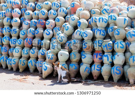 Tunisia. (South Tunisia). Djerba island. Houmt Souk. Fishing port. Jars for fishing squid #1306971250