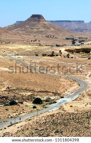 TUNISIA (SOUTH-TUNISIA). THE ROAD OF THE KSOUR (REGION OF TATAOUINE). DESERT #1311804398